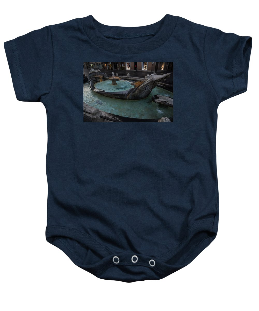 Rome Baby Onesie featuring the photograph Rome's Fabulous Fountains - Fontana Della Barcaccia - Spanish Steps by Georgia Mizuleva