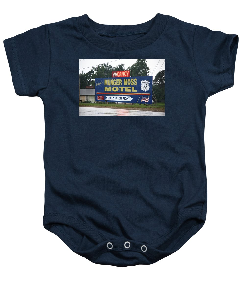 66 Baby Onesie featuring the photograph Route 66 - Munger Moss Motel Sign by Frank Romeo