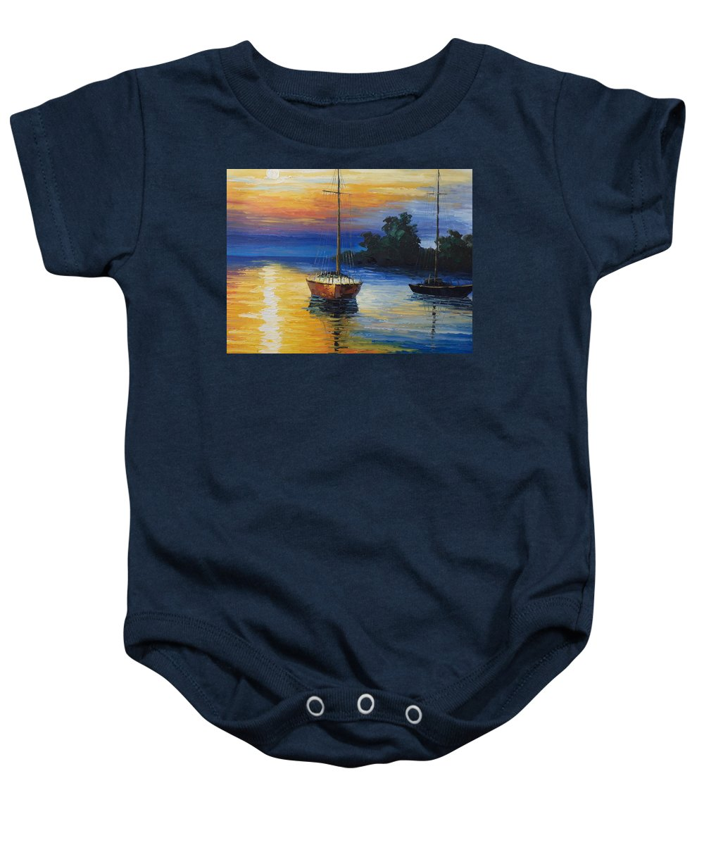 Landscape Baby Onesie featuring the painting Sailboat At Sunset by Rosie Sherman