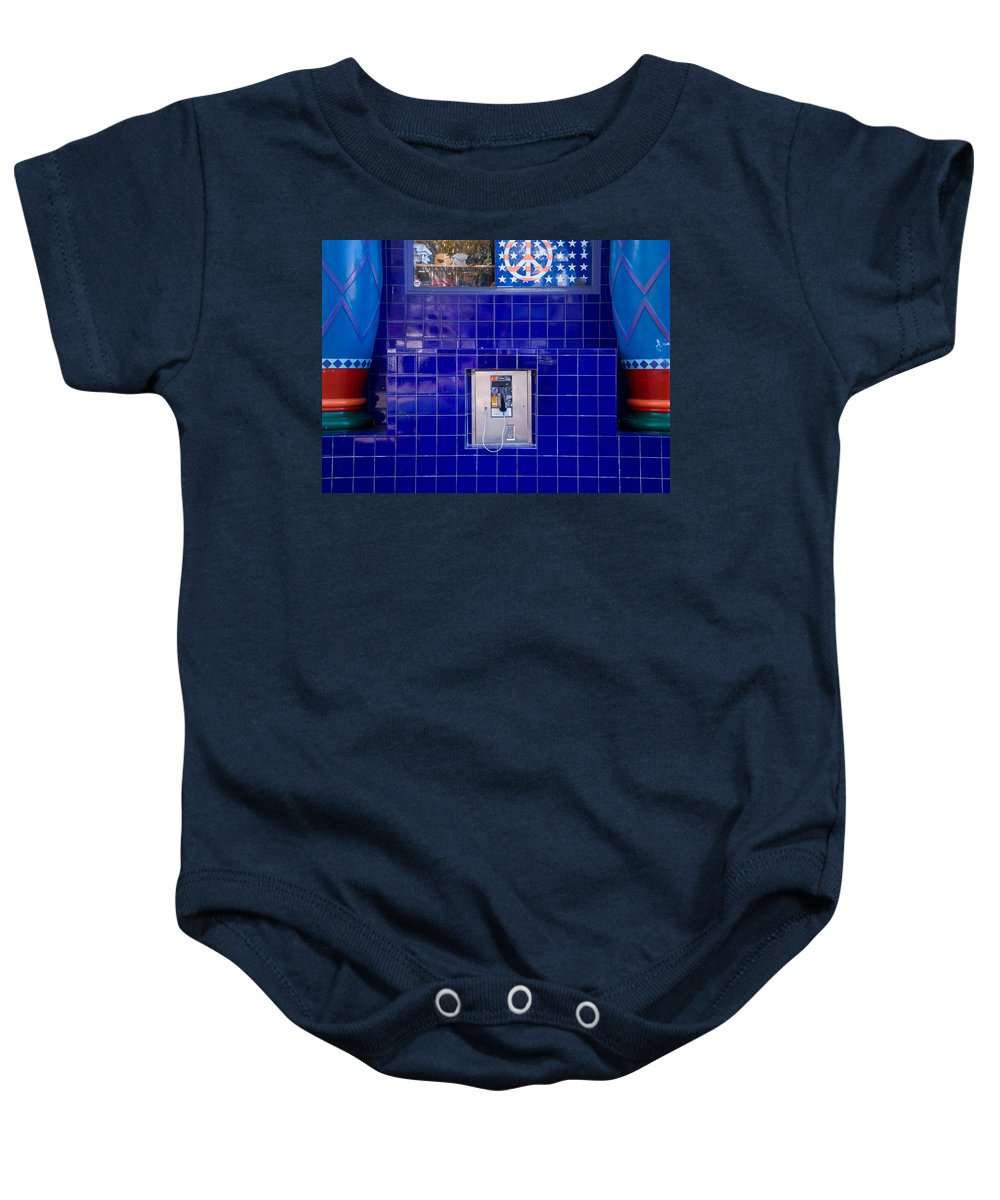 Waiting Room Baby Onesie featuring the photograph San Francisco Pay Phone by David Smith