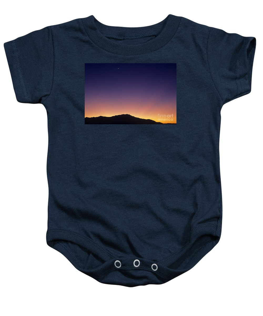 Landscape Baby Onesie featuring the photograph San Jacinto Mountains Crescent Moon by Jim Corwin