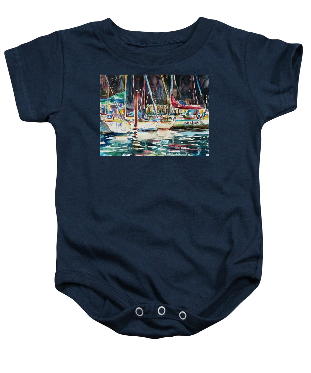 Watercolour Baby Onesie featuring the painting Santa Cruz Dock by Xueling Zou