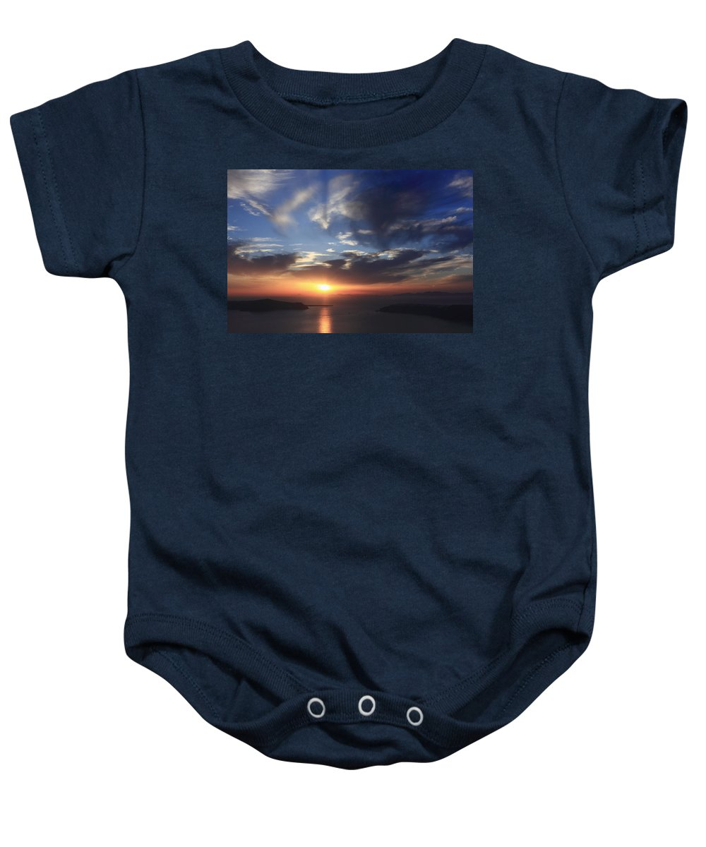 Aegean Baby Onesie featuring the photograph Santorini Sunset Cyclades Greece by Ivan Pendjakov