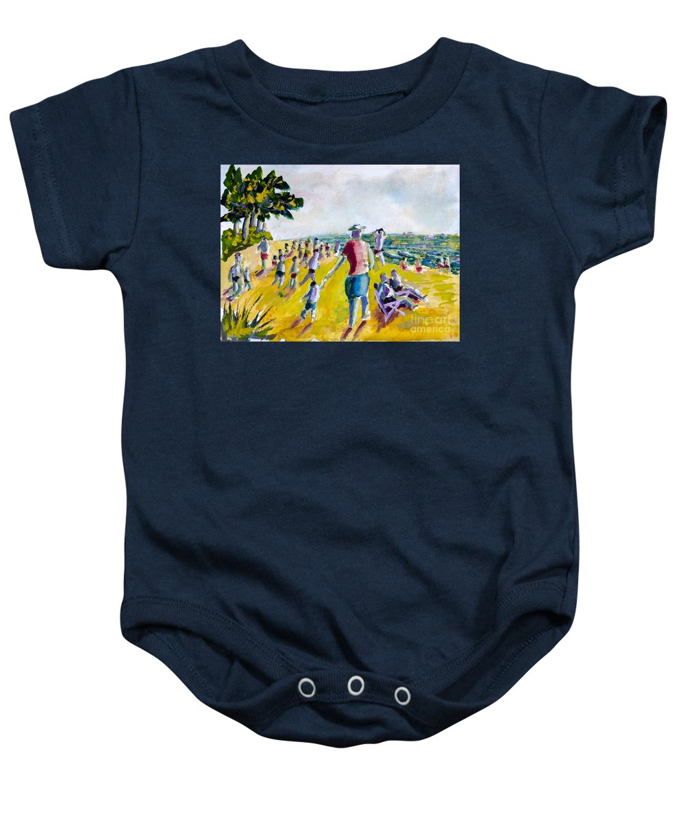 Nature Baby Onesie featuring the painting School's Out On The Beach by Walt Brodis