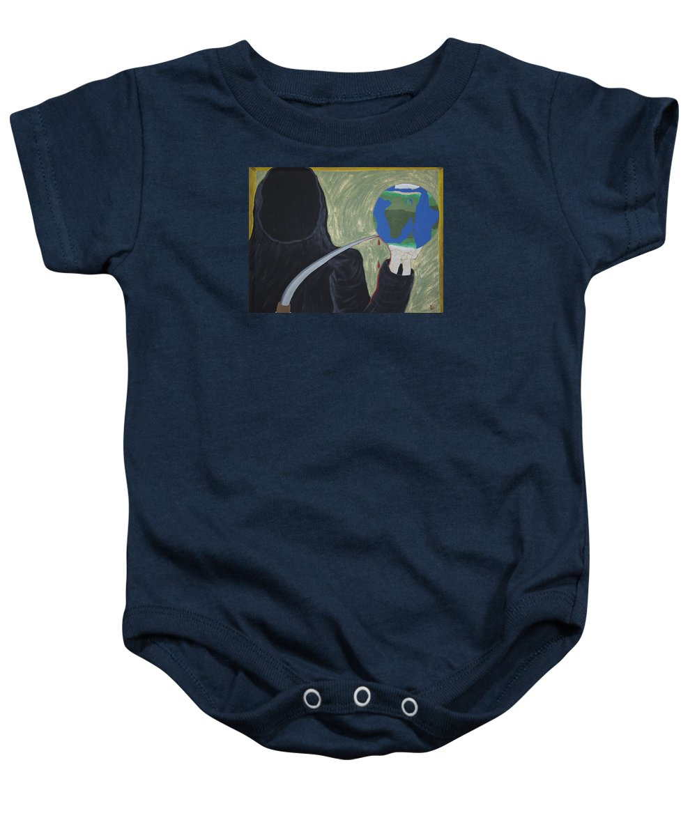Painting Baby Onesie featuring the painting Shadow Of Fear by Dean Stephens
