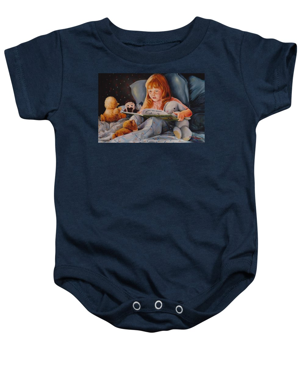 Child Baby Onesie featuring the painting Shaina's Friends by Duane R Probus