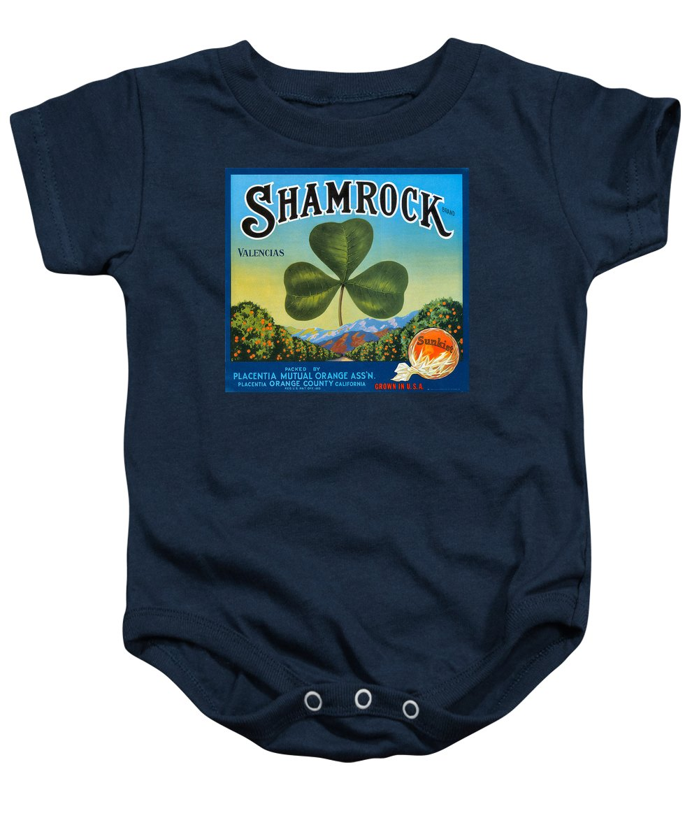 Shamrock Crate Label Baby Onesie featuring the digital art Shamrock Crate Label by Label Art