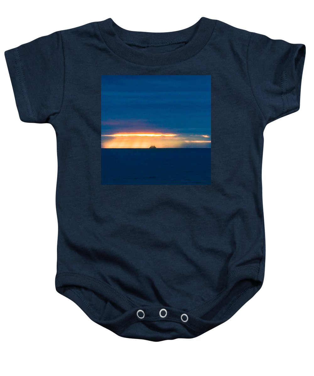 Ship On The Horizon Baby Onesie featuring the photograph Ship On The Horizon by Edgar Laureano