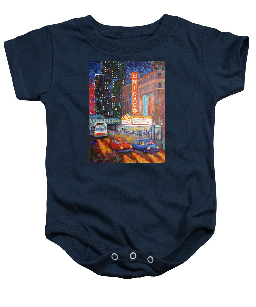 Chicago Baby Onesie featuring the painting Showtime by J Loren Reedy