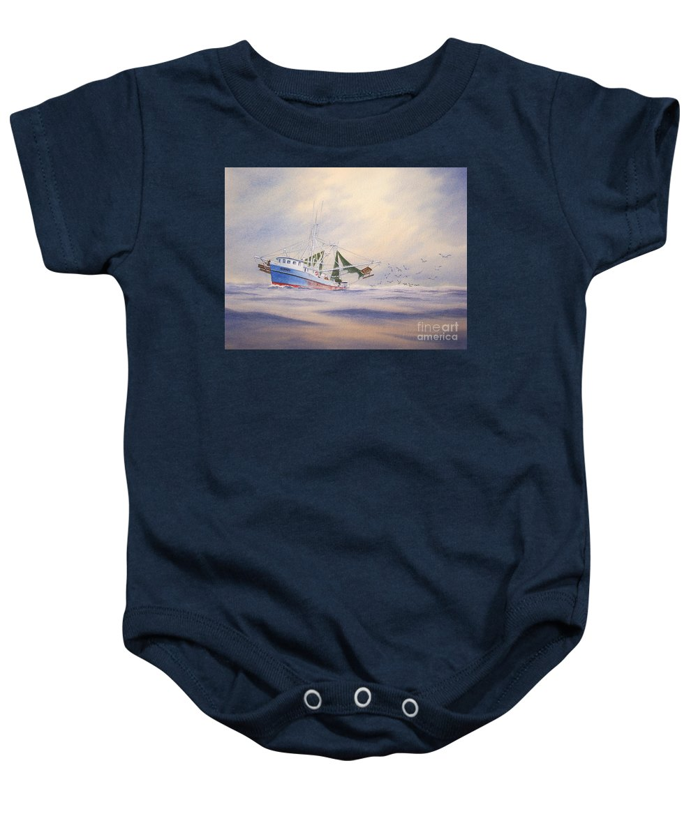 Shrimp Boat Baby Onesie featuring the painting Shrimp Boat On The Gulf by Bill Holkham