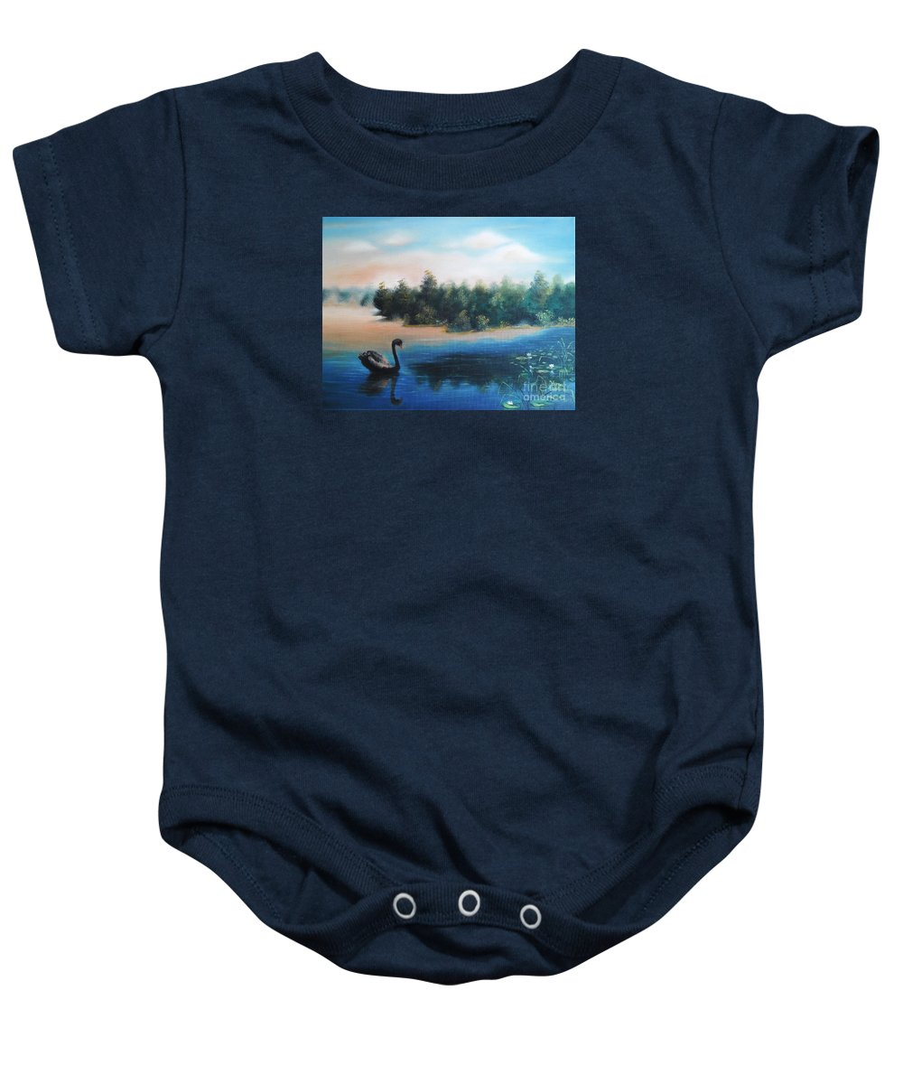 Quiet Baby Onesie featuring the painting Silence by Vesna Martinjak