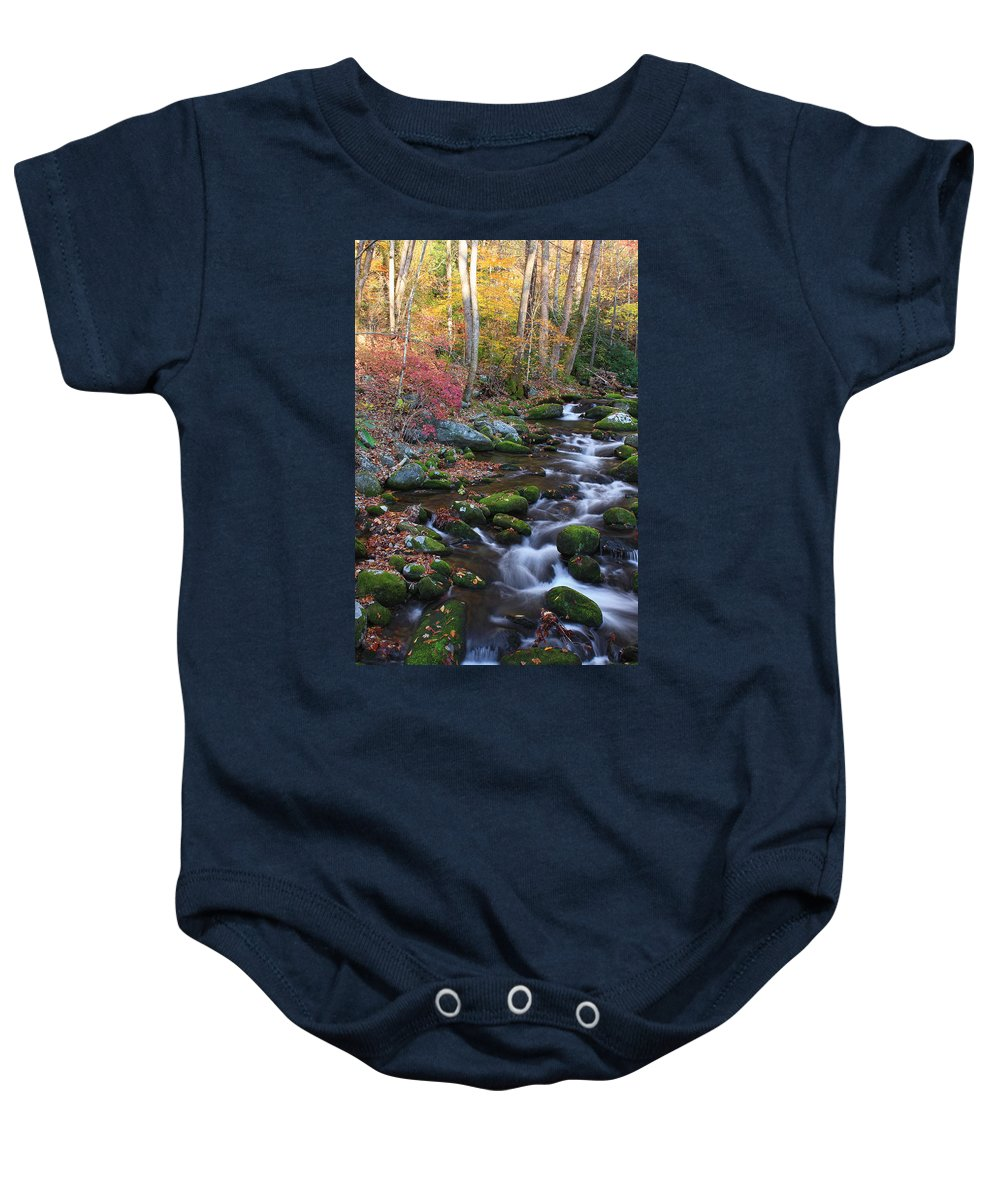 River Baby Onesie featuring the photograph Silky Flow by Shari Jardina