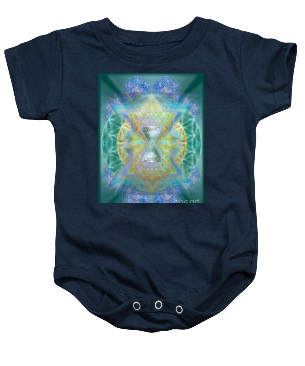 3d Chalice Baby Onesie featuring the digital art Silver Torquoise Chalicell Ring Flower Of Life Matrix by Christopher Pringer
