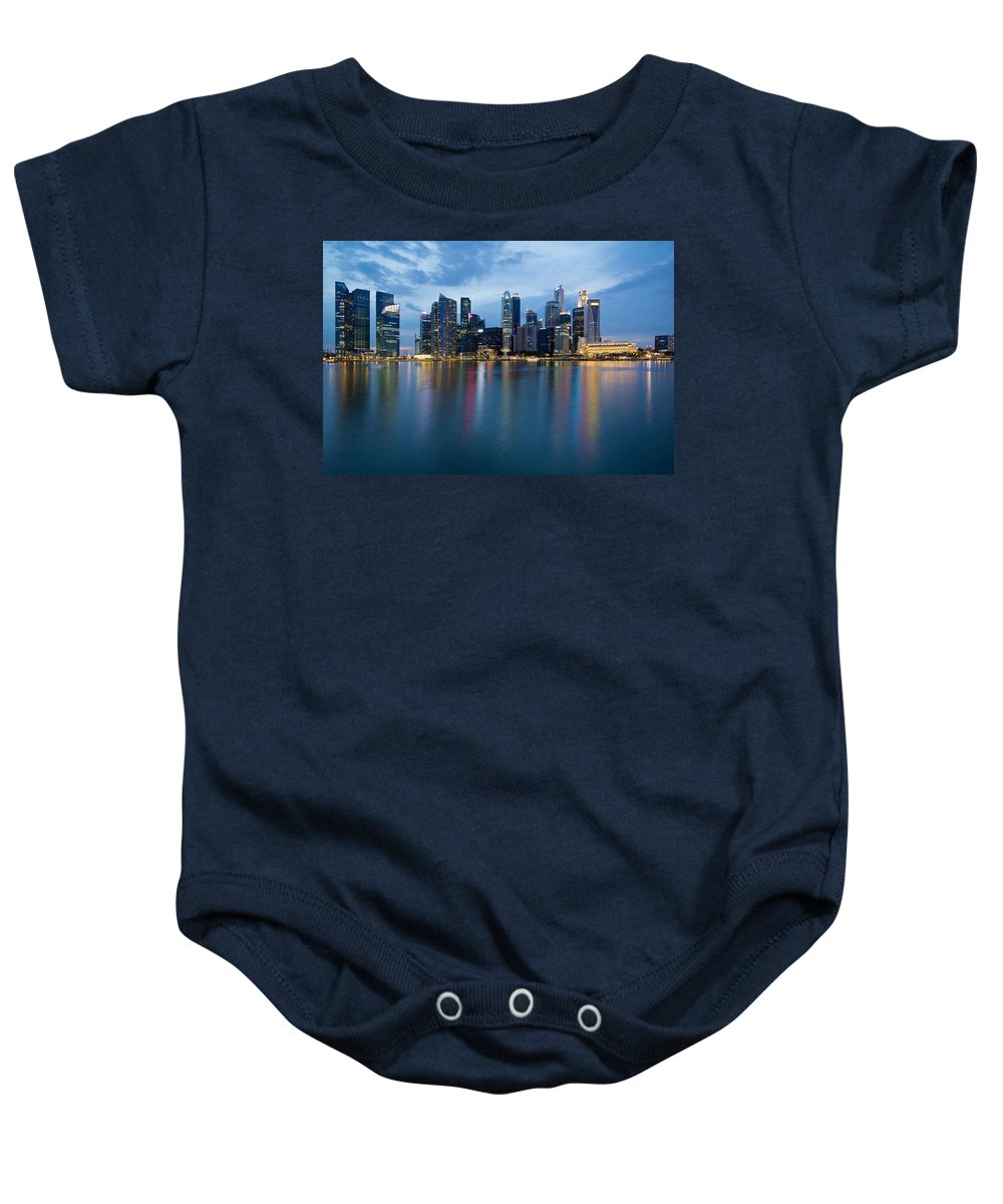 Singapore Baby Onesie featuring the photograph Singapore City Skyline At Blue Hour by Jit Lim