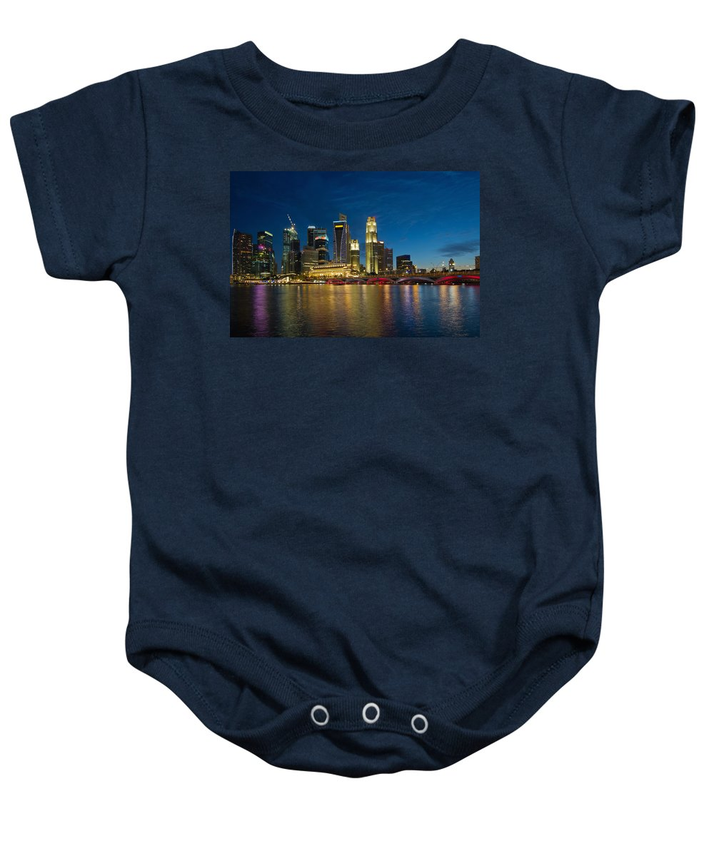 Singapore Baby Onesie featuring the photograph Singapore River Waterfront Skyline At Blue Hour by Jit Lim