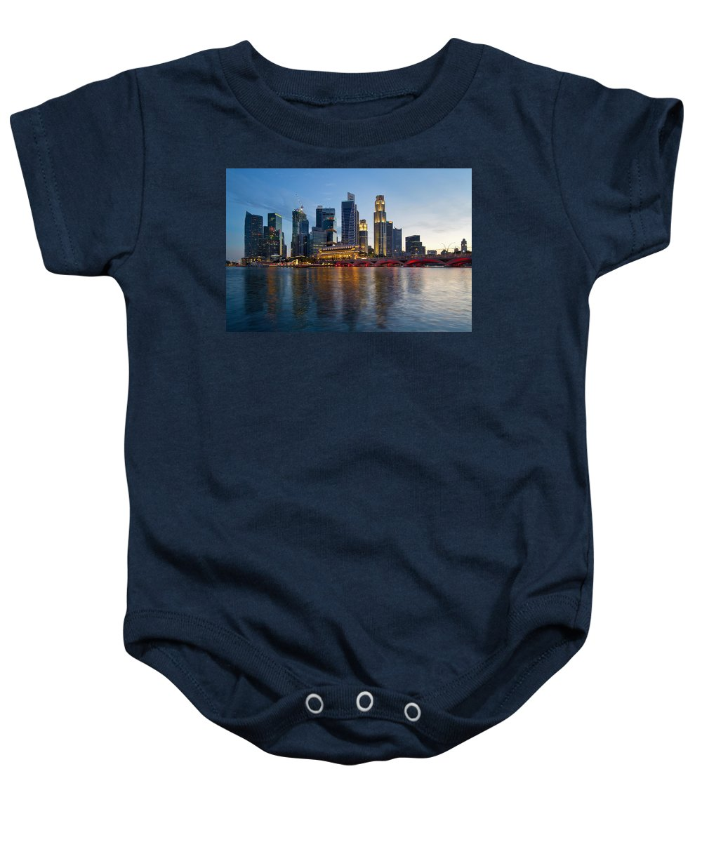 Singapore Baby Onesie featuring the photograph Singapore River Waterfront Skyline At Sunset by Jit Lim