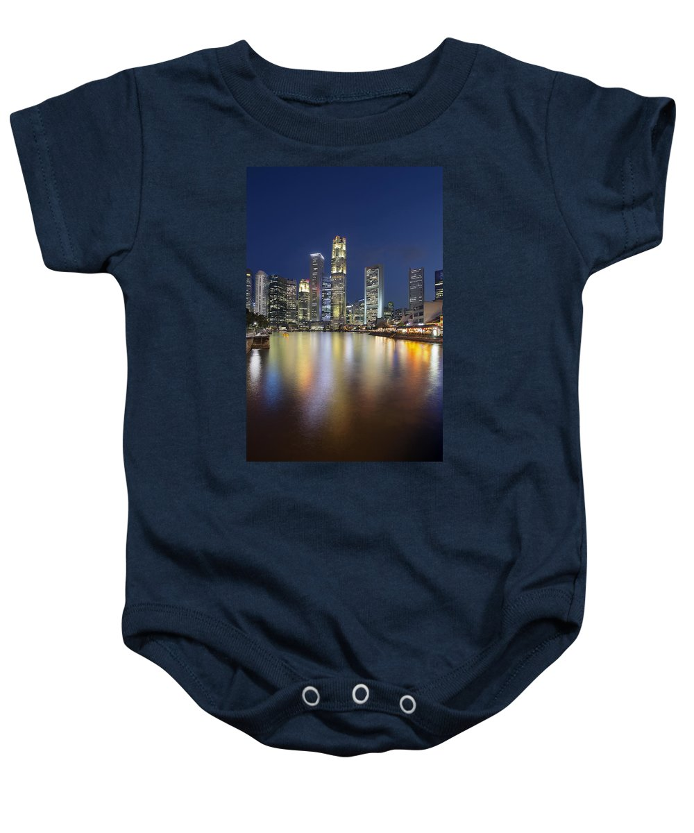 Singapore Baby Onesie featuring the photograph Singapore Skyline By Boat Quay Vertical by Jit Lim