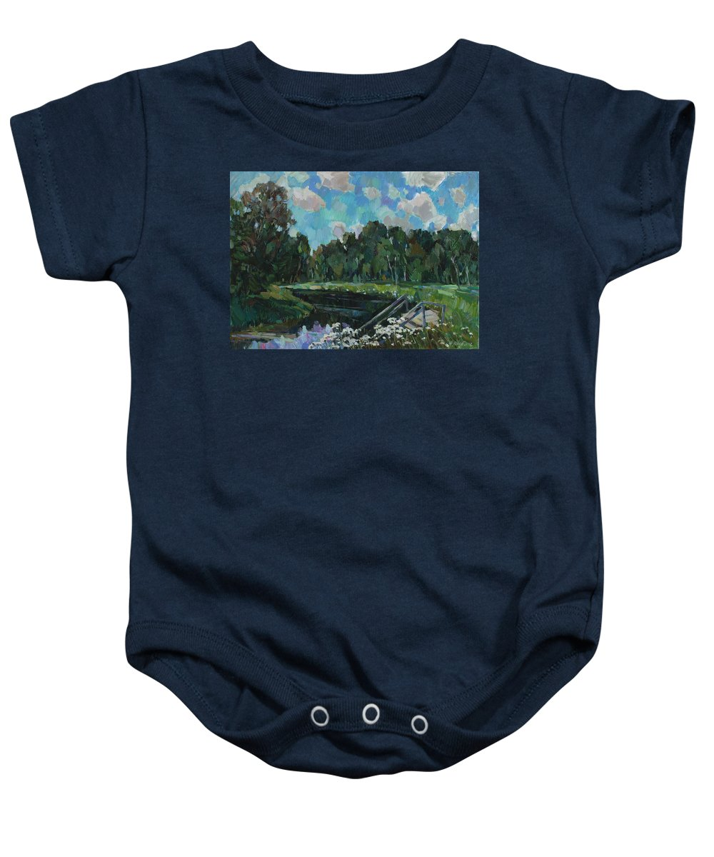 Sky Baby Onesie featuring the painting Sky In The River by Juliya Zhukova