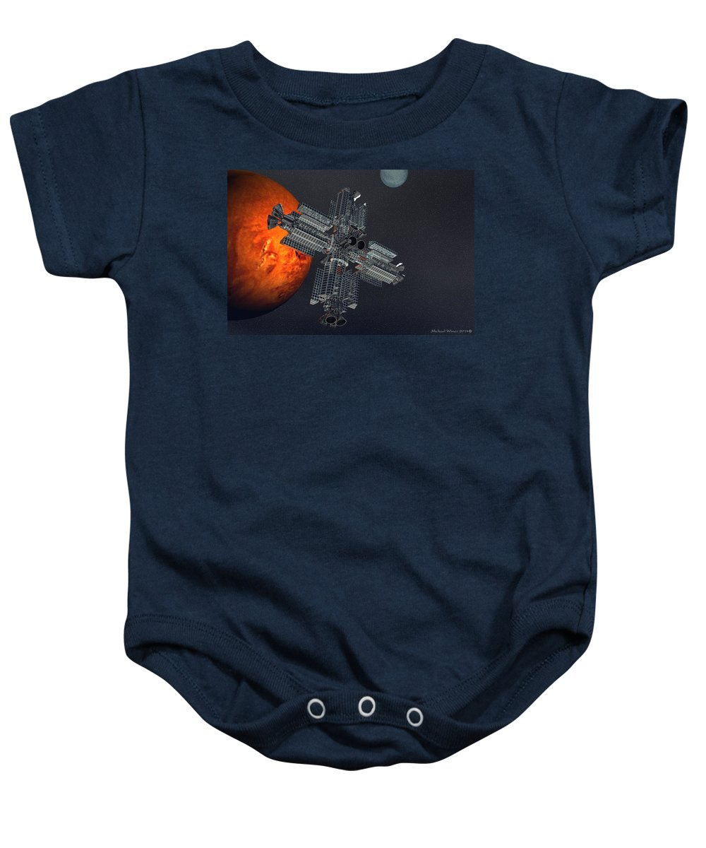 Digital Art Baby Onesie featuring the digital art Space Colony by Michael Wimer