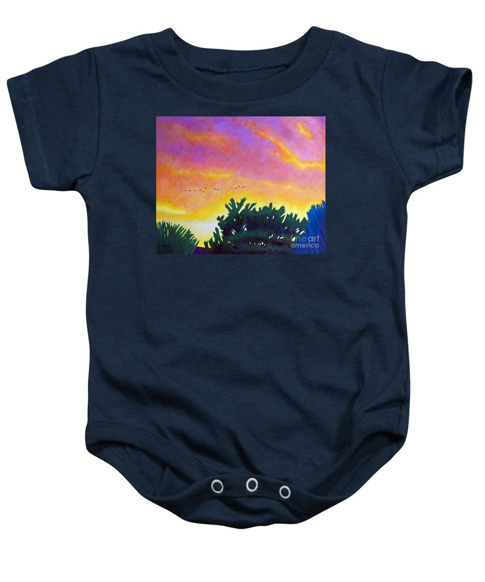Clouds Baby Onesie featuring the painting Spirit And Nature by Brian Commerford