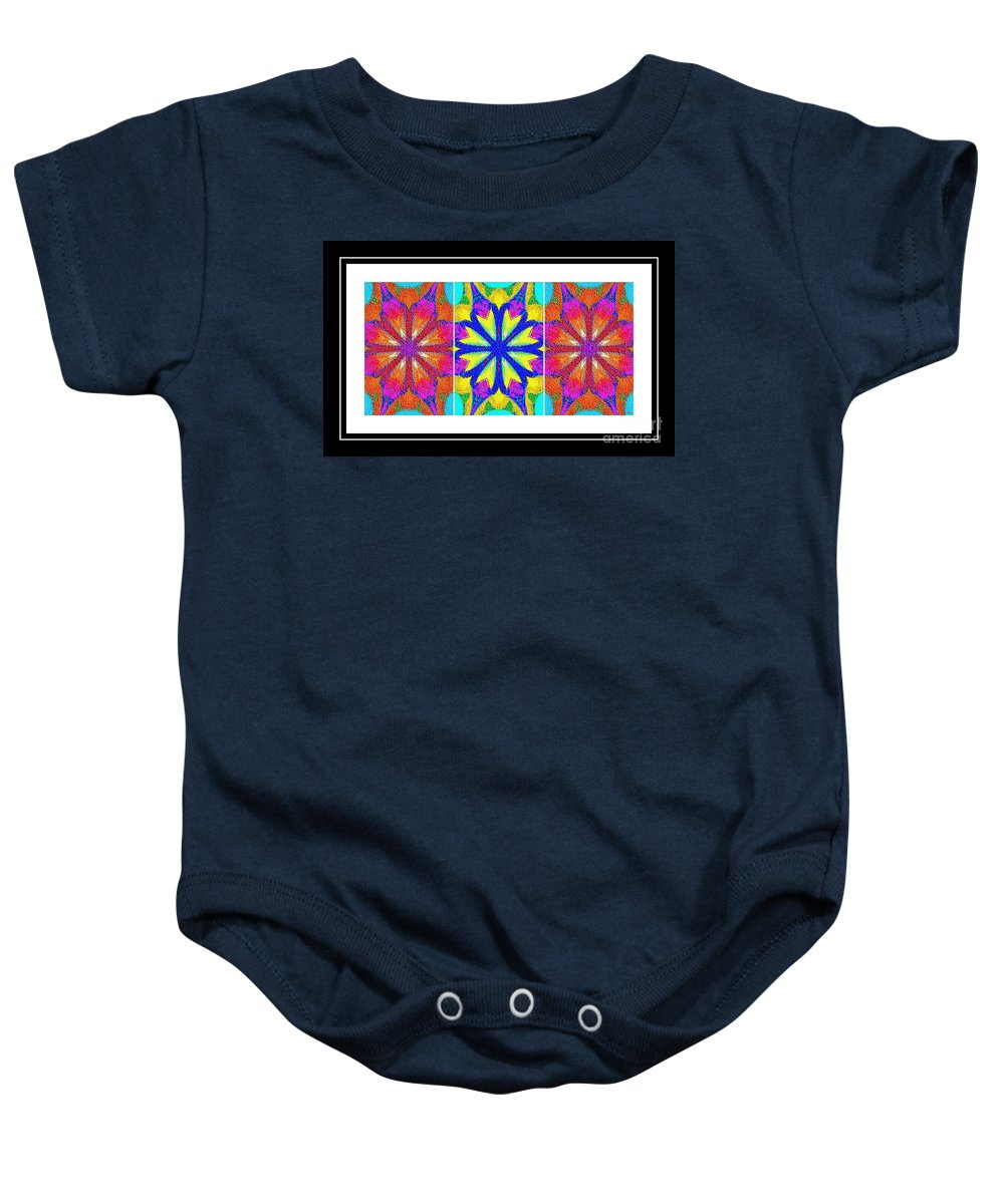 Spirituality - Life Lights - Kaleidoscope - Triptych Baby Onesie featuring the photograph Spirituality - Life Lights - Kaleidoscope - Triptych by Barbara Griffin