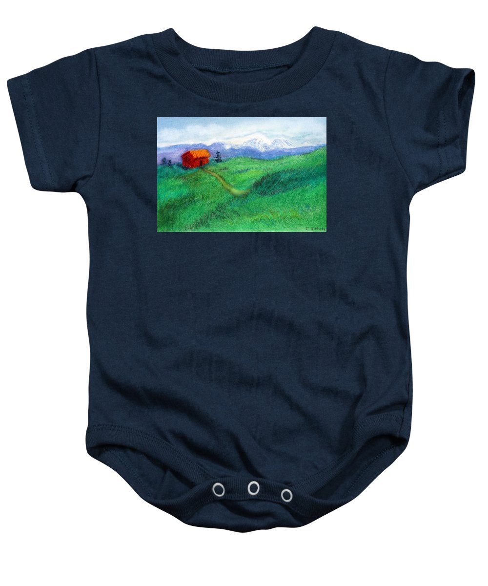C Sitton Painting Paintings Baby Onesie featuring the pastel Spring Day by C Sitton