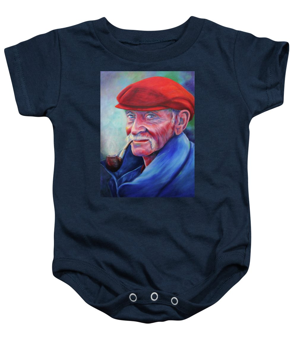 Portrait Baby Onesie featuring the painting St. Francis by Shannon Grissom