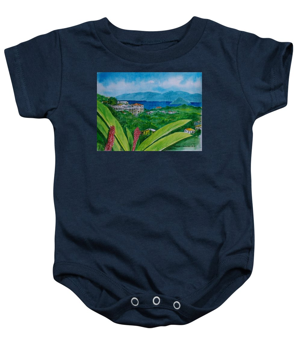 St Thomas Flower Plant Houses Hills Water Foreground Baby Onesie featuring the painting St. Thomas Virgin Islands by Frank Hunter