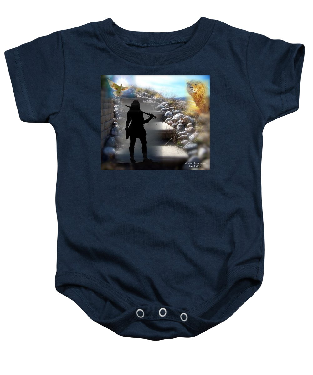 Stand Baby Onesie featuring the digital art Stand by Jewell McChesney