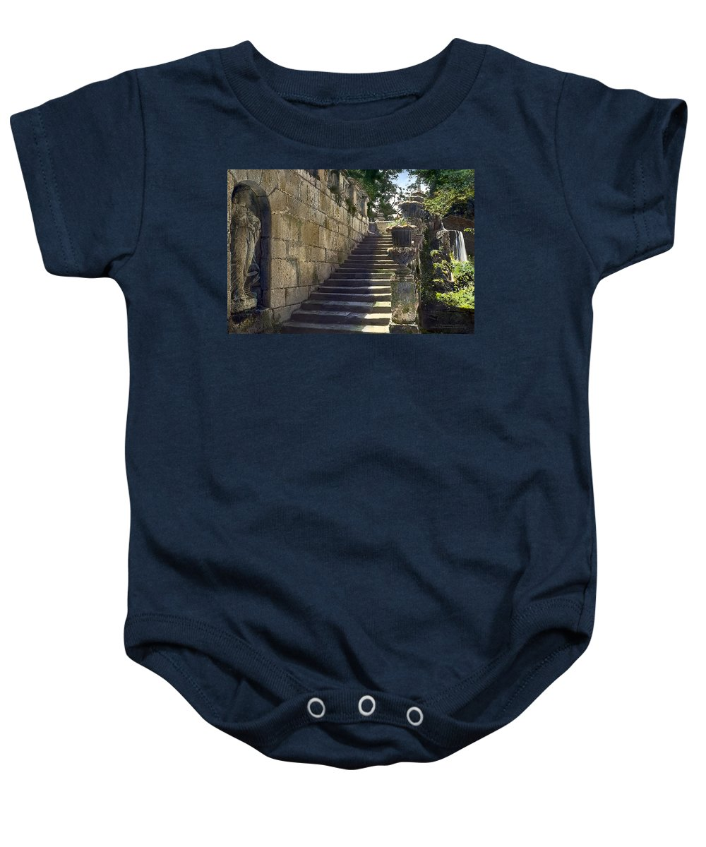 Tranquil Baby Onesie featuring the photograph Statue And Stairs by Terry Reynoldson