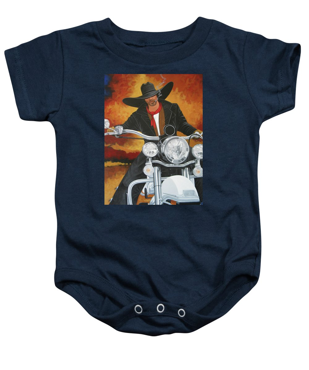 Cowboy On Motorcycle Baby Onesie featuring the painting Steel Pony by Lance Headlee
