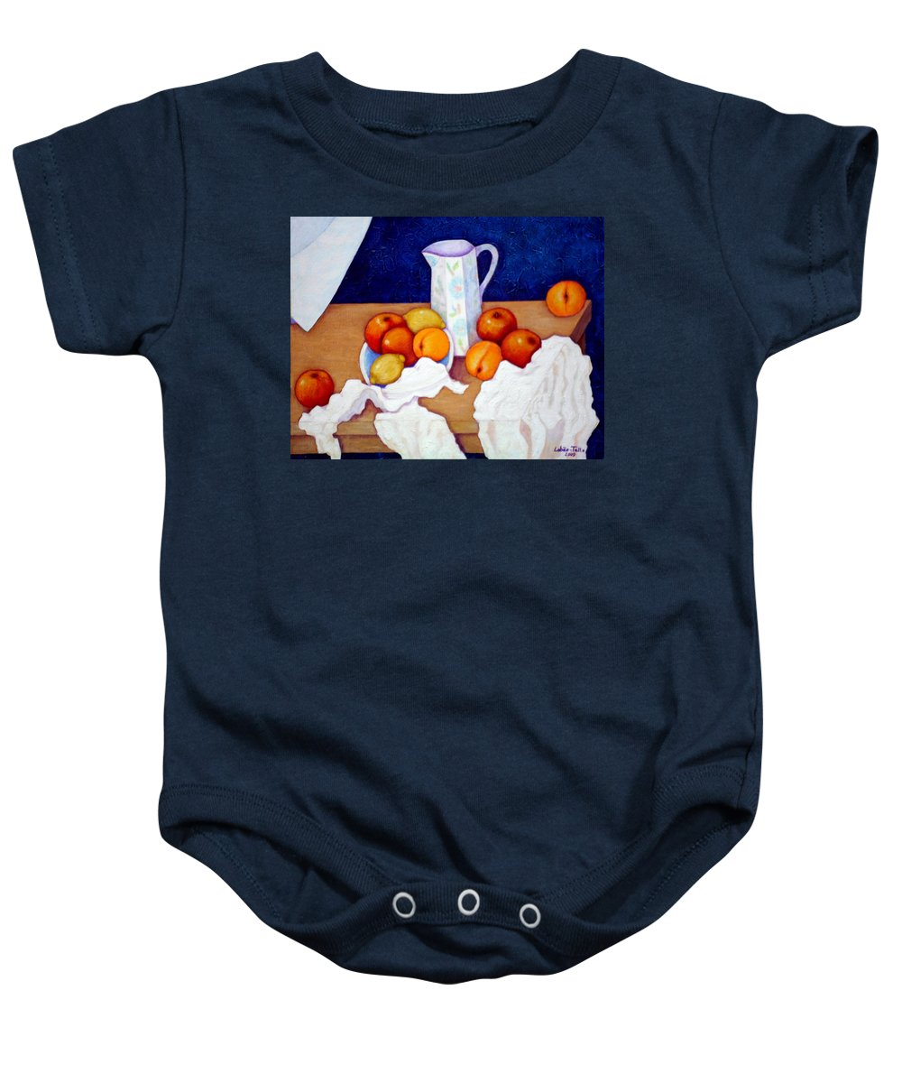 Cezanne Baby Onesie featuring the painting Still Life In Honor Of Cezanne  by Madalena Lobao-Tello