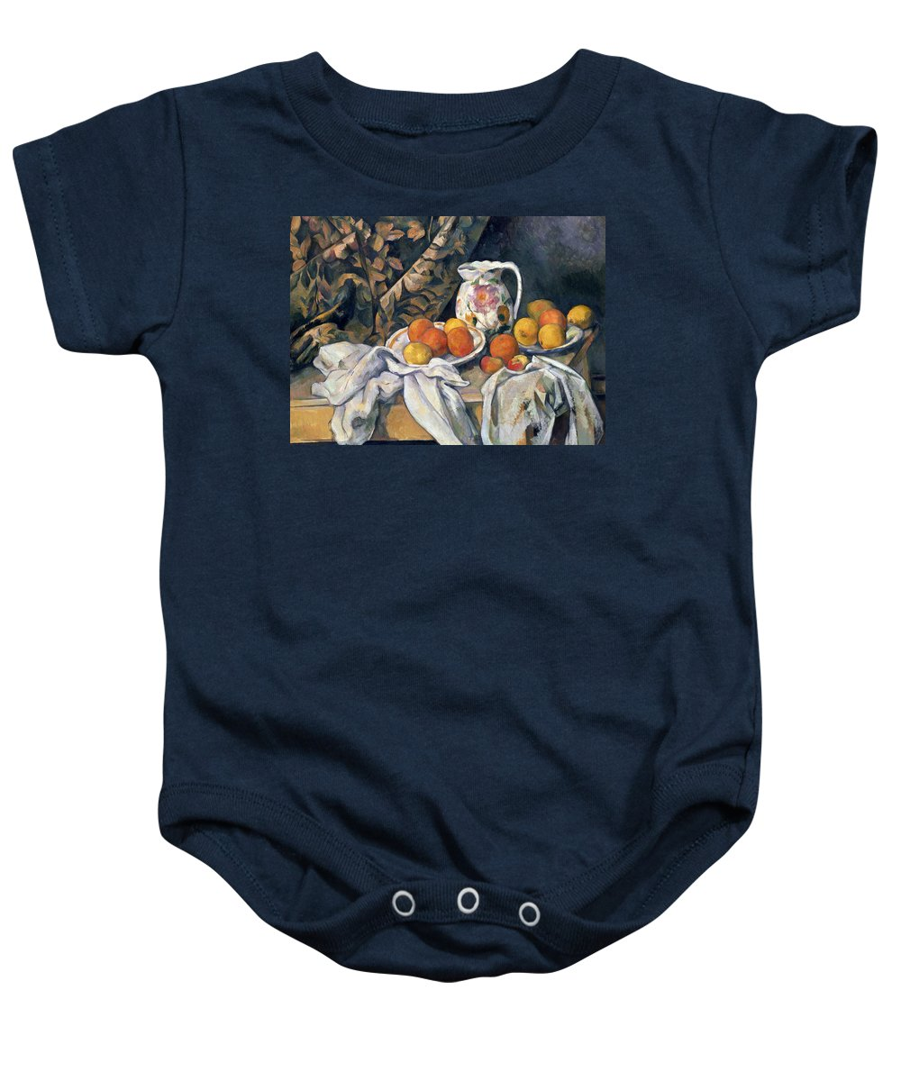 Post-impressionist Baby Onesie featuring the painting Still Life With Drapery by Paul Cezanne