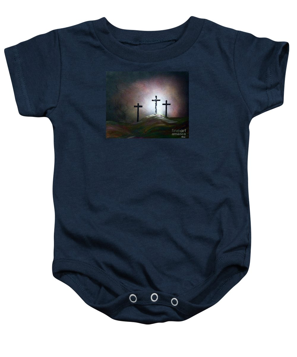 Jesus Baby Onesie featuring the painting Still The Light by Eloise Schneider