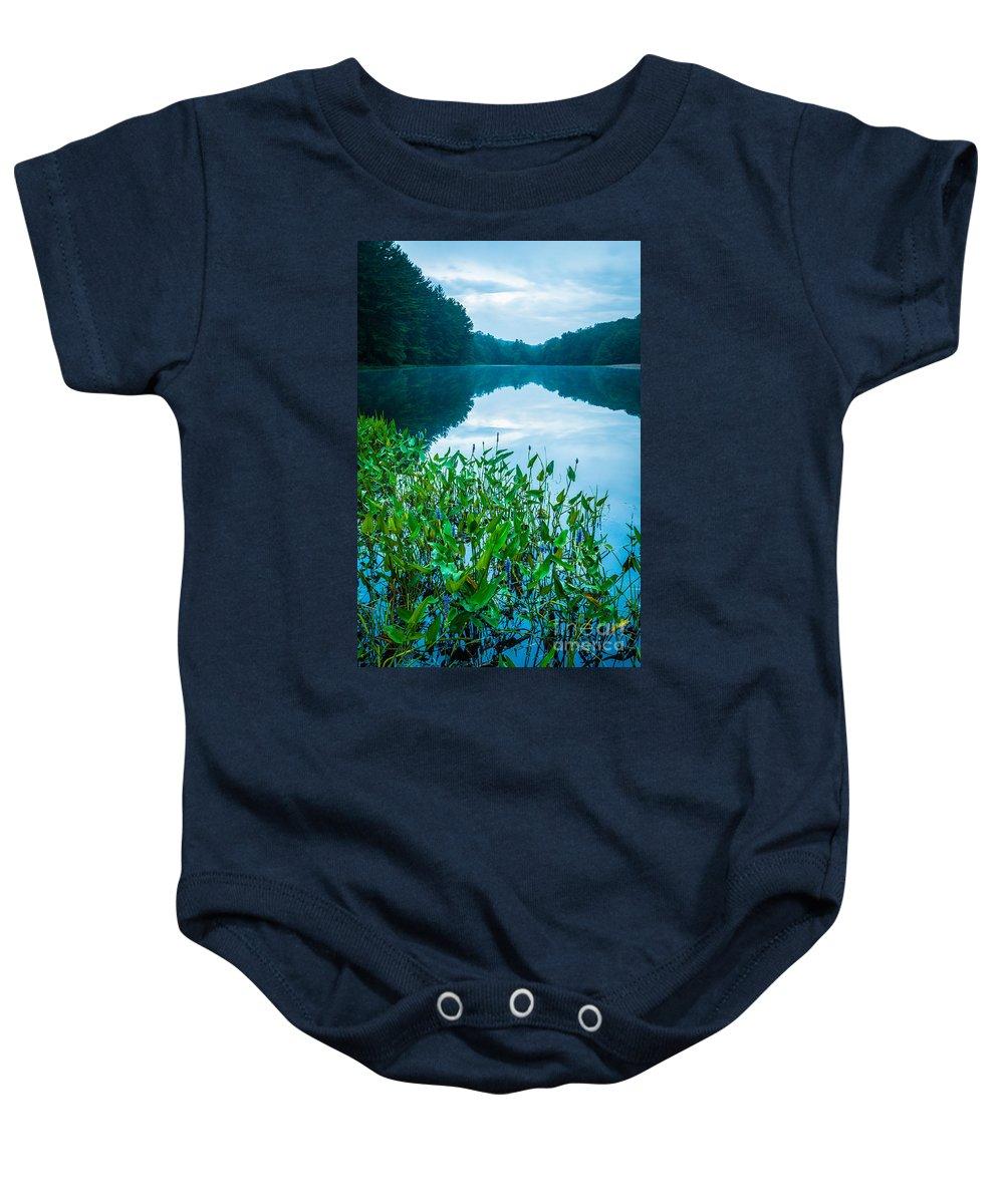 Family Pontederiaceae (pickerelweed Family) Baby Onesie featuring the photograph Stillness On Schreeder Pond by JG Coleman