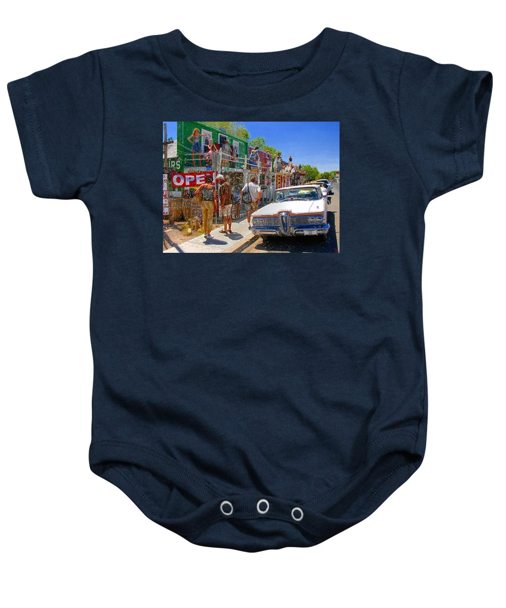 Seligman Arizona Baby Onesie featuring the painting Strange Stop At Seligman by David Lee Thompson