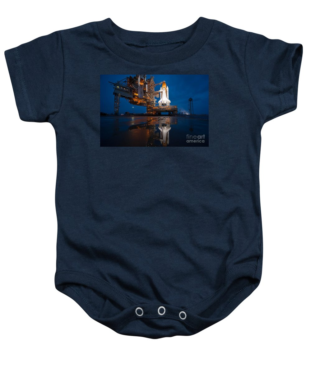 Atlantis Baby Onesie featuring the photograph Sts 135 Atlantis Prelaunch by Paul Fearn