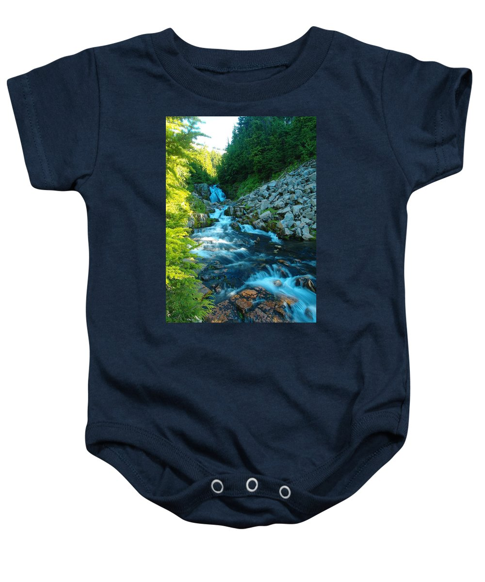 Rivers Baby Onesie featuring the photograph Sun Beam Falls by Jeff Swan