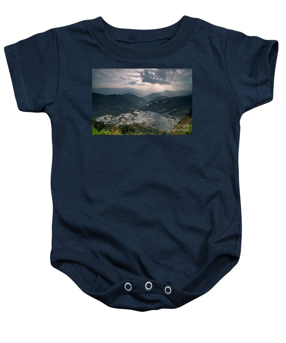 Agriculture Baby Onesie featuring the photograph Sun Ray Over Rice Terrace Filed by Kim Pin Tan