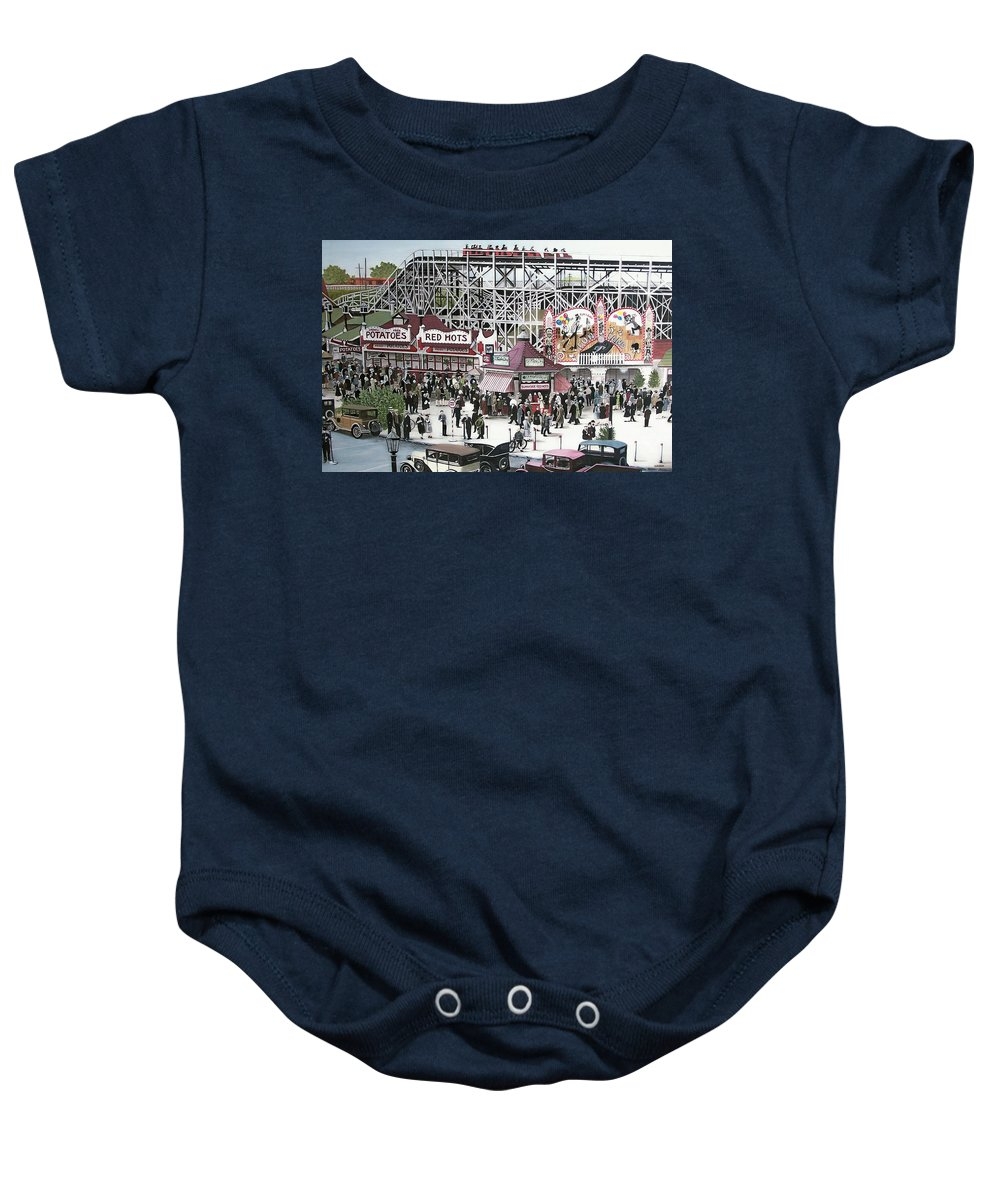 Streetscapes Baby Onesie featuring the painting Sunnyside Park by Kenneth M Kirsch