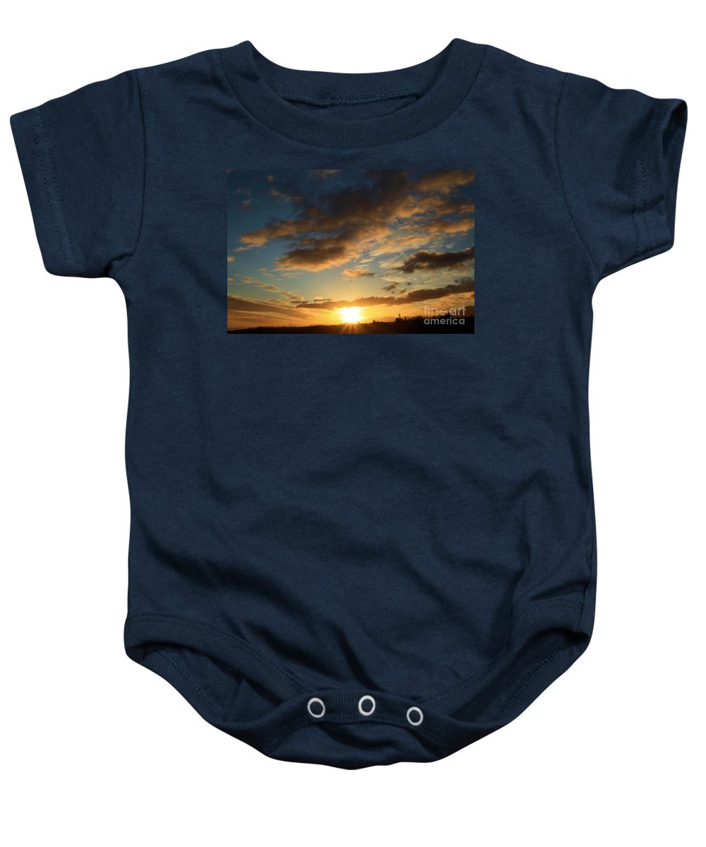 Port Angles Baby Onesie featuring the photograph Sunrise Over Port Angeles by Adam Jewell