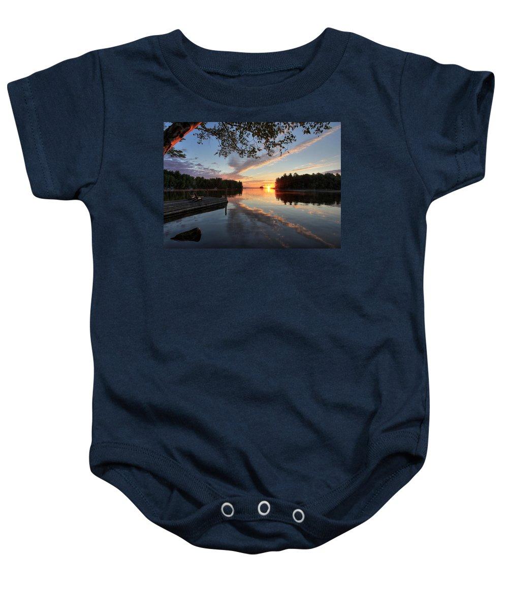 Sunrise Baby Onesie featuring the photograph Sunrise Seat - Millinocket Lake by Lori Deiter