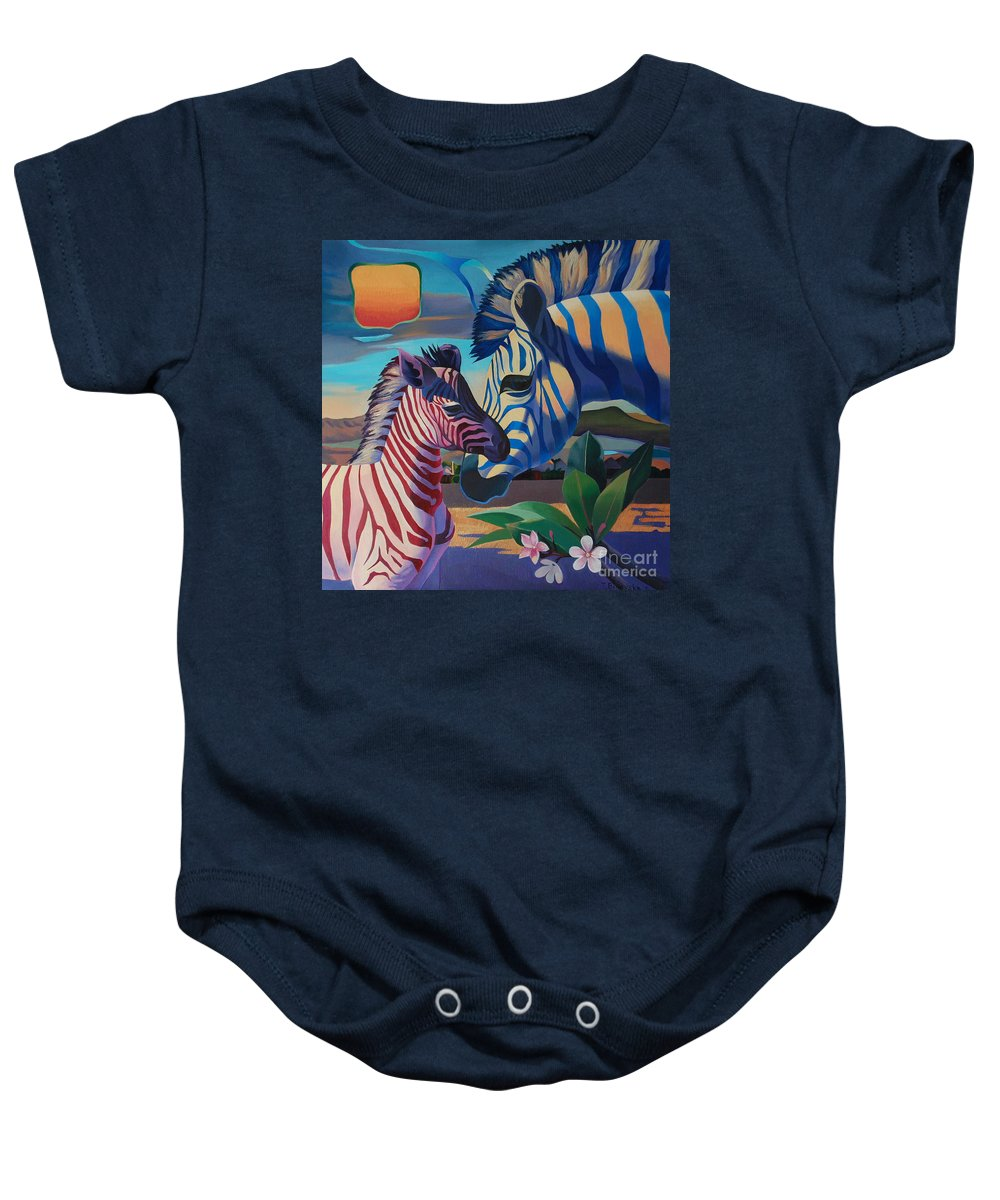 Magic Africa Baby Onesie featuring the painting Sunset In Ngoro Ngoro by Tatyana Binovska