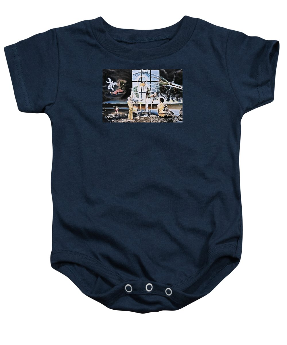 Surreal Baby Onesie featuring the painting Surreal Windows Of Allegory by Dave Martsolf