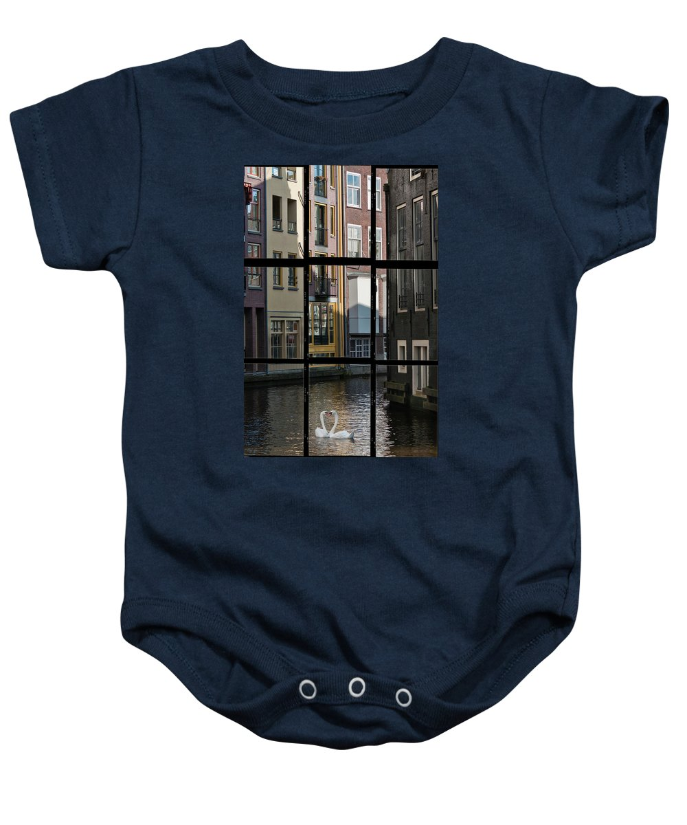 Joan Carroll Baby Onesie featuring the photograph Swans Love Amsterdam by Joan Carroll