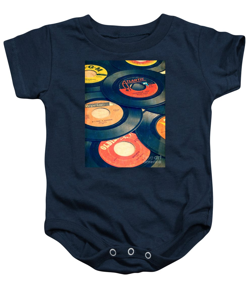 45s Baby Onesie featuring the photograph Take Those Old Records Off The Shelf by Edward Fielding