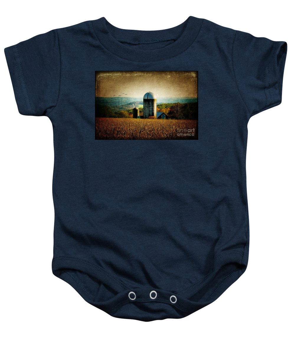 Tanner Hill Baby Onesie featuring the photograph Tanner Hill Farm In The Fall Connecticut Usa by Sabine Jacobs