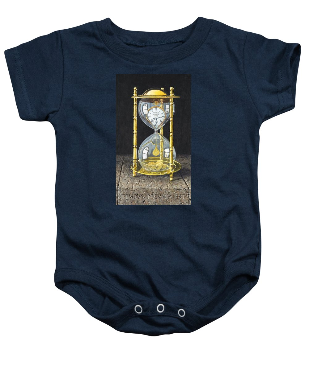 Still Life Baby Onesie featuring the painting Tempus Pecunia Est by Richard Harpum