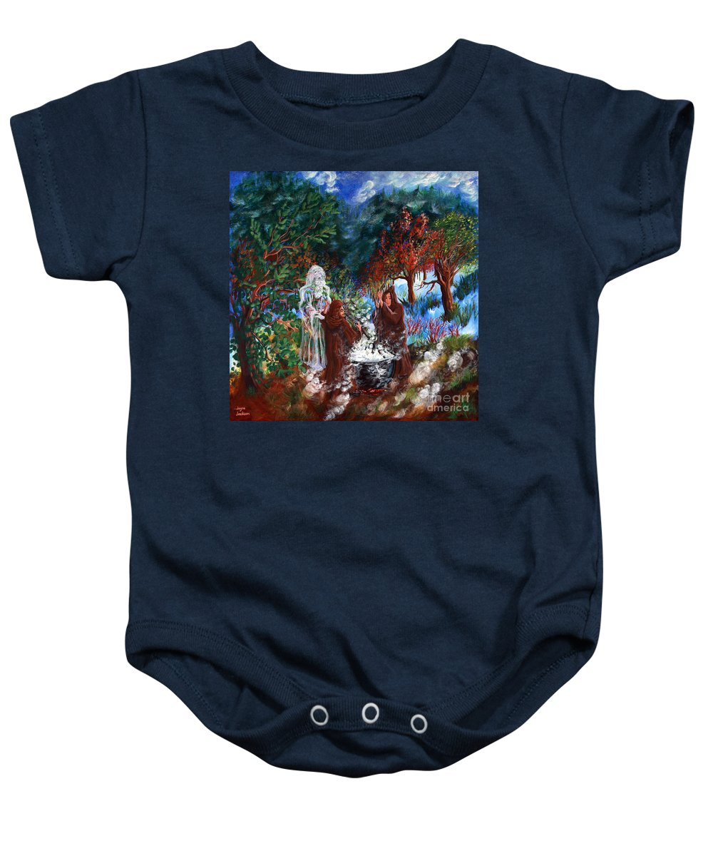 Spiritual Baby Onesie featuring the painting The Alchemists by Joyce Jackson