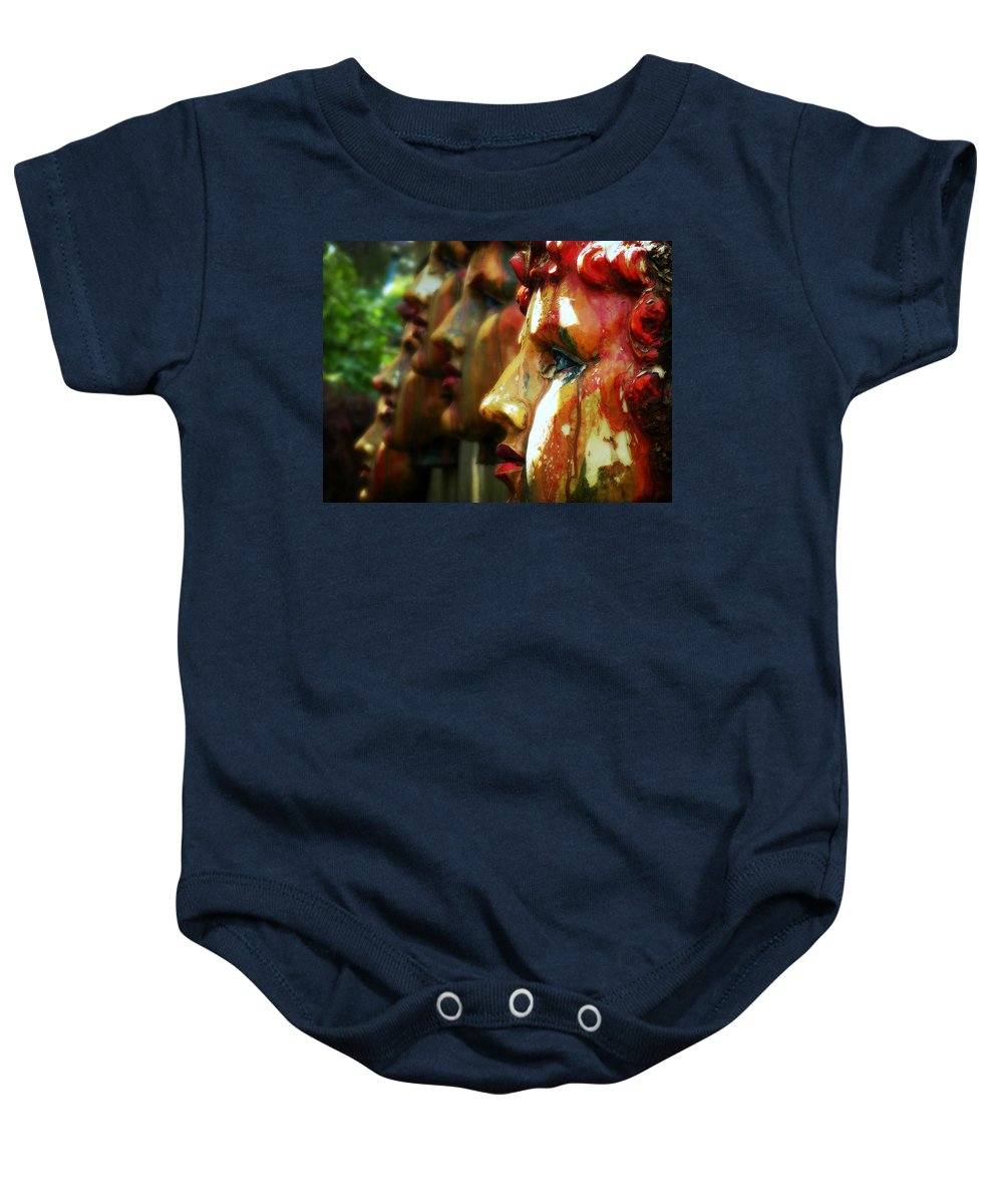 Faces Baby Onesie featuring the photograph The Artist's Garden by Micki Findlay